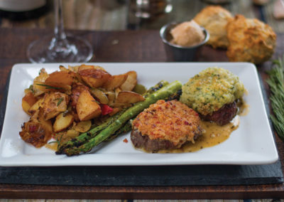 Thunder Bay Grille Crusted steak with asparagus and potatoes